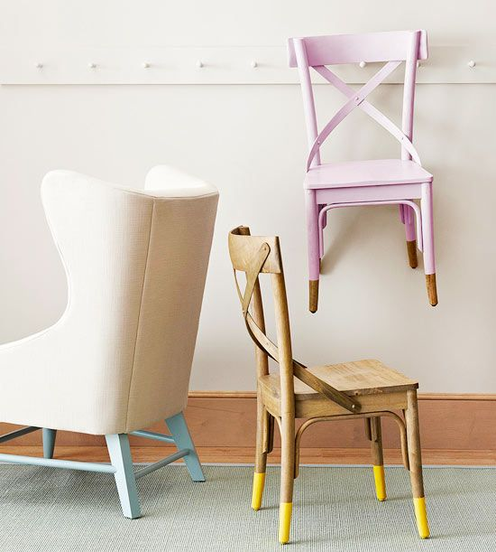 DIY: Skip painting an entire chair and employ a dip-dye effect instead. Paint just the base or the tips of the legs in a standout color. If you're painting the tips of chair legs, measure how far up the leg you want to paint. That way, each leg will be evenly painted.
