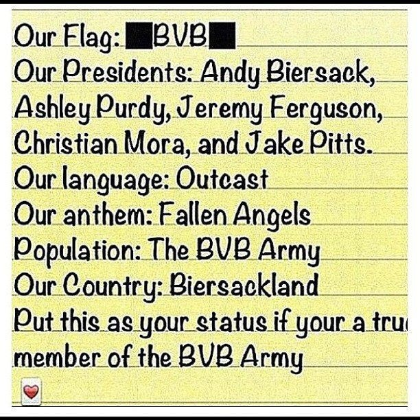 I am and will always be forever a member of the Black Veil Brides Army