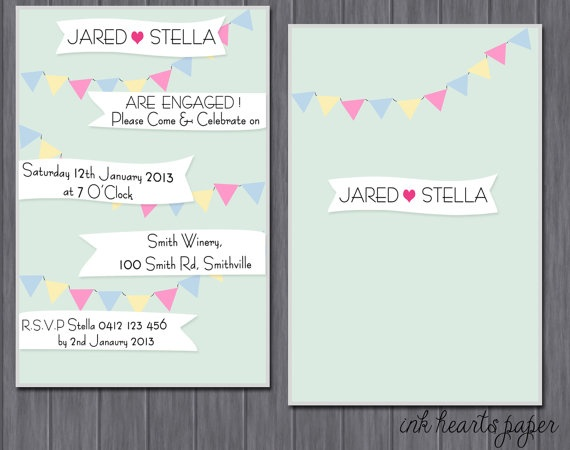 "DIY PRINTABLE Birthday, Baby shower, Wedding, Engagement, Bridal Shower Party Invitation ""Buntings & Flags"""