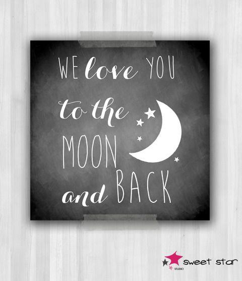 """Affiche pour chambre d'enfant """"Love U to the Moon"""" : Chambre d'enfant, de bébé par sweetstar"""