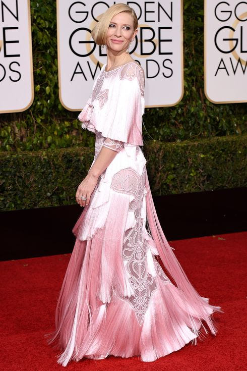 Golden Globes 2016: The Red Carpet's Biggest Risk Takers | People - Cate Blanchett in a pink fringe Givenchy dress