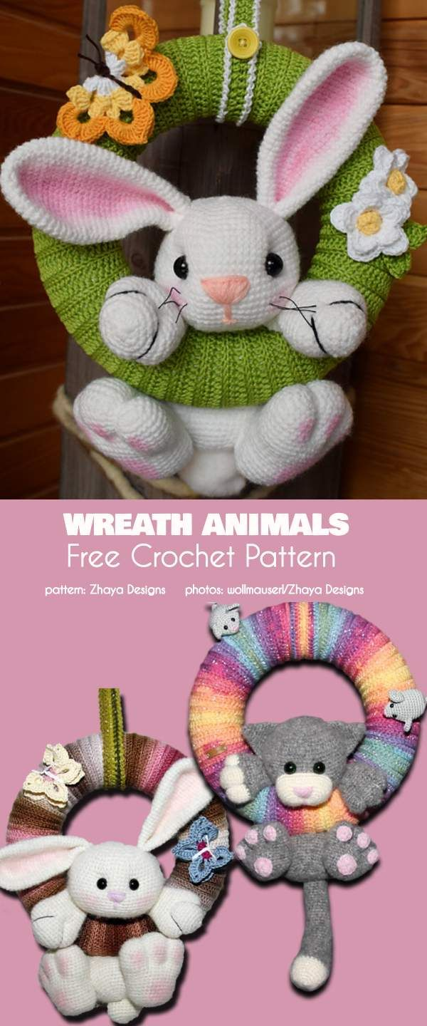 Wreath Animals Free Crochet Pattern Crochet Crochet Crochet