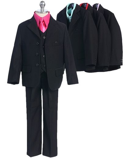 Boys 5 piece suit with Colored Shirt
