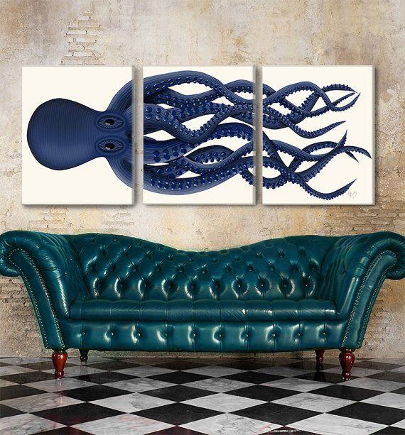 Bleu poulpe triptyque - impression sur toile imprimé pieuvre Octopus Set 3, ou des affiches - créature de la mer kraken impression cadeau pour art de calmar géant de boyfriend