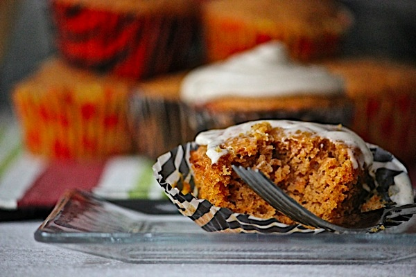 sweet potato cupcakes with cinnamon cream cheese frosting.