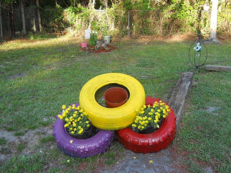 Painted tires my crafts pinterest gardens tire - Painted tires for flowers ...