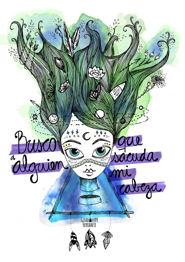 Sacudí mi cabeza Illustration by Guadalupe Ferrante, via Behance // #watercolors #sodastereo #music
