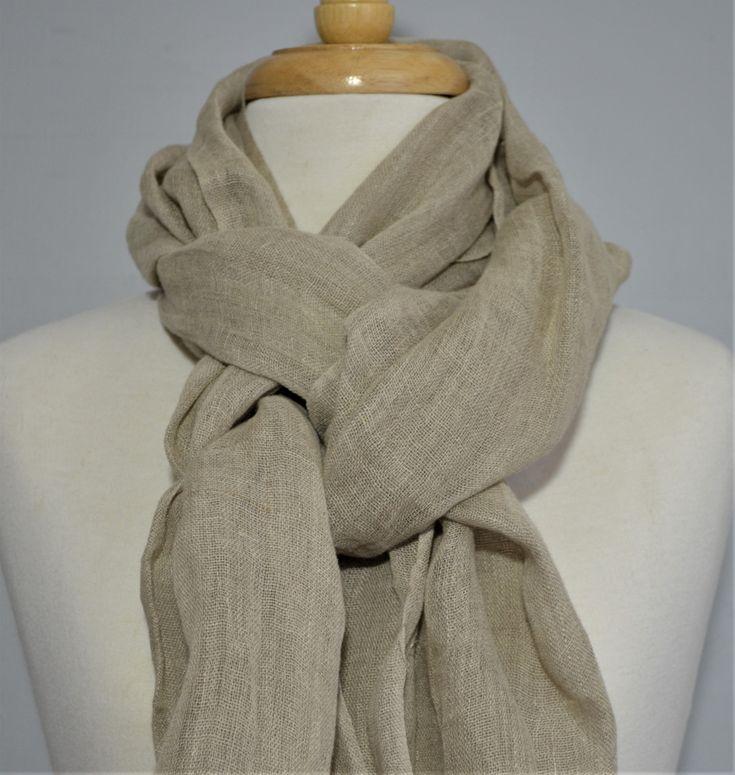 100% French Linen Sandstone Scarf