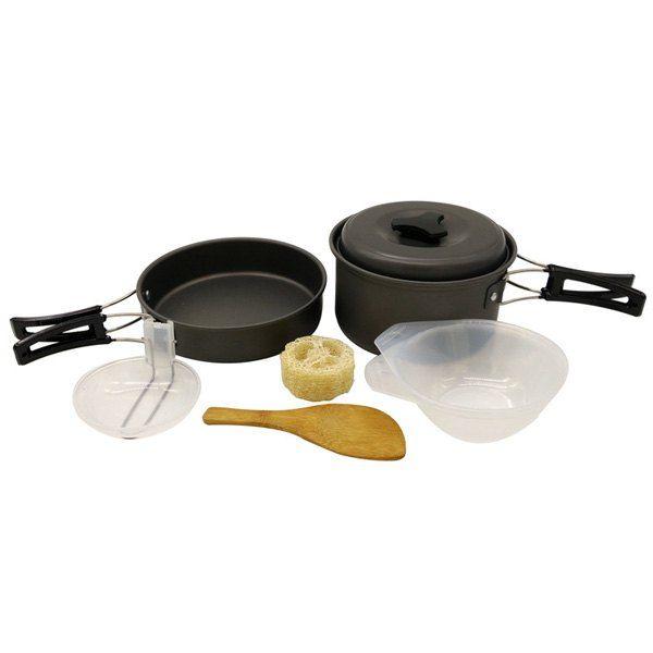 Ensemble de vente chaude 1-2 Personne Camping Outdoor Cookware Frying Pan Oxyde d'aluminium Casserole