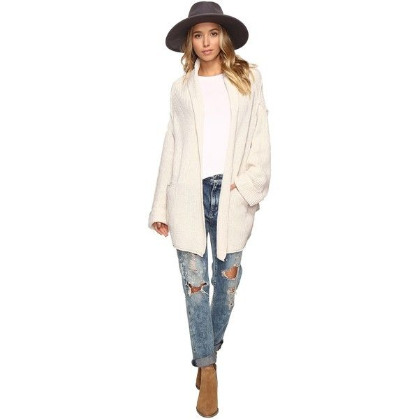Free People Low Tide Cardigan Sweater (Cream) Women's Sweater ($90) ❤ liked on Polyvore featuring tops, cardigans, pink long sleeve top, pink top, open front cardigan, pocket tops and cream long sleeve top