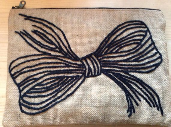 Burlap bow clutch bag hand embroidered accessories pouch