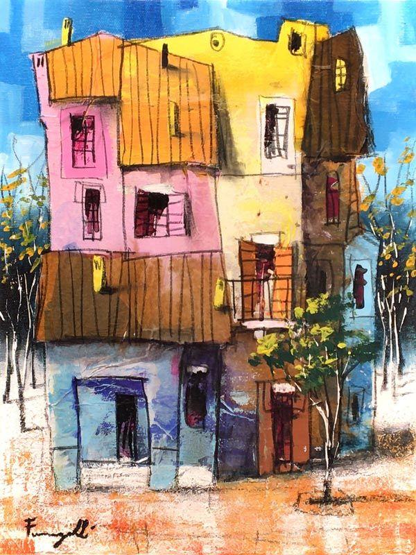 Paolo Fumagalli case piccole quadro - fluidofiume galleria d'arte Trieste
