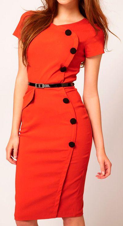 Retro button pencil dress