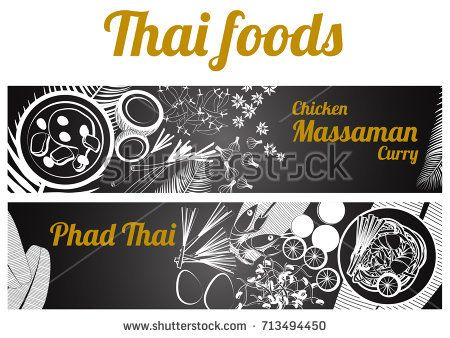 two black and white gray scale Thai delicious and famous food banner, fried noodle stick with shrimp pad thai, Chicken Curry massaman and ingredient with black background,vector illustration