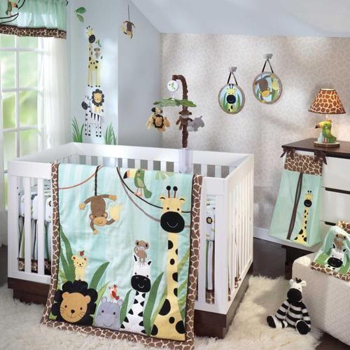 Safari Animals Monkeys And Zebras Uni Baby Boys S 5pc Nursery Bedding Set Ebay