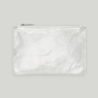 Leather Clutch - Silver from The White Company #whitechristmaswishlist
