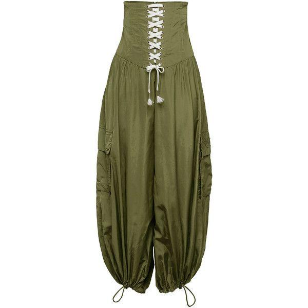 Fenty Puma By Rihanna Corset Genie Pants ($1,500) ❤ liked on Polyvore featuring pants, green, green trousers, drawstring pants, cuff pants, puma pants and cuffed drawstring pants