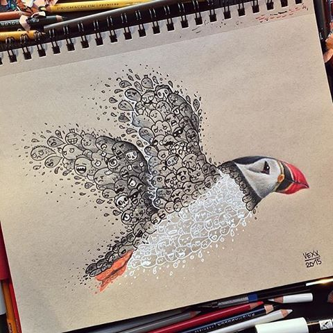 Super cute Puffin Doodle  by @vexx_art  #movement