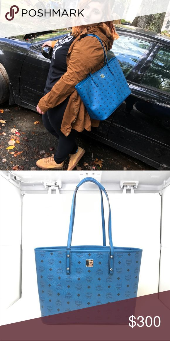 Mcm Purse ( Just the purse) blue This bag is used i paid $595 for this bag.  It's in great condition not many flaw besides probably a couple dings. Price is negotiable. Used for about 3 weeks NO CLUTCH. MCM Bags Totes