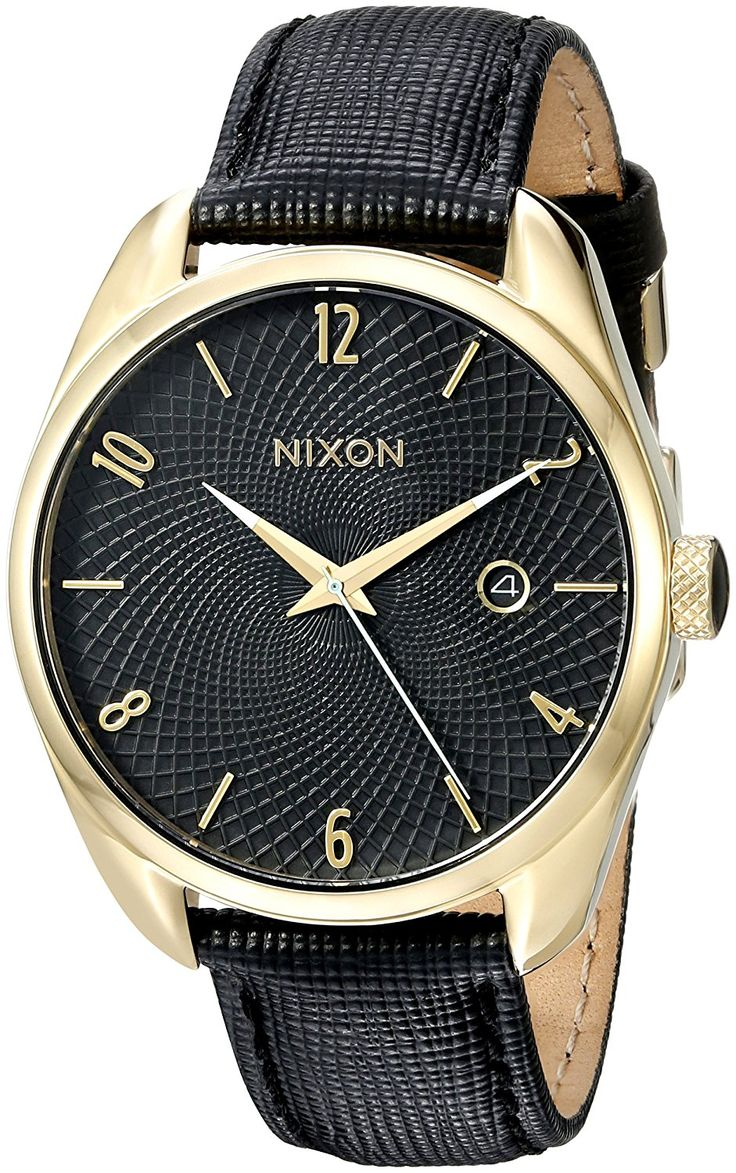 Nixon Women's A473513 Bullet Leather Analog Display Japanese Quartz Black Watch *** Want additional info for the watch? Click on the image.
