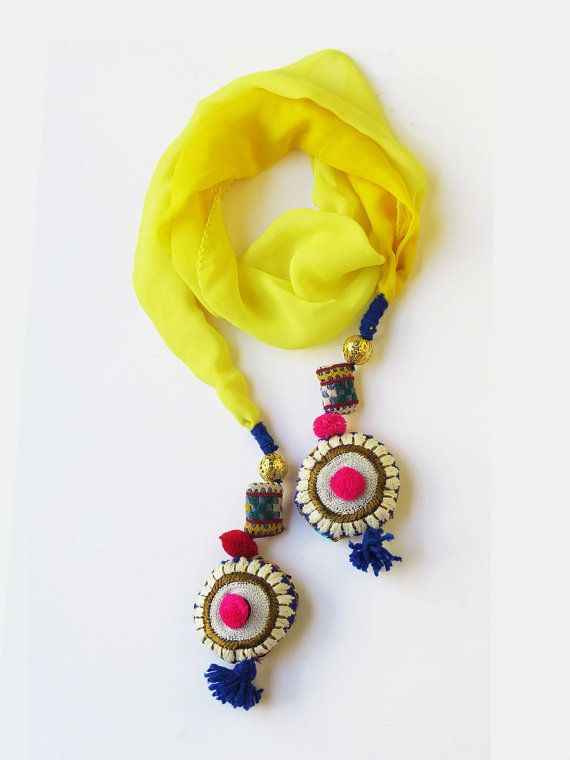 Handmade embroidered unique Tassel summer Yellow Scarf / beaded stole colorful tribal stole boho hippie banjara india