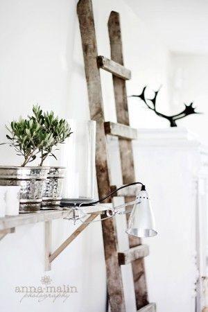 Plank aan de muur met zilveren bloempotjes en Ikea klemlamp.