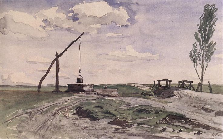 Károly Lotz (1833-1904) Landcape with a Sweep-pole Well 1868-70 - Lotz Károly (festő) – Wikipédia   (Tájkép gémeskúttal)