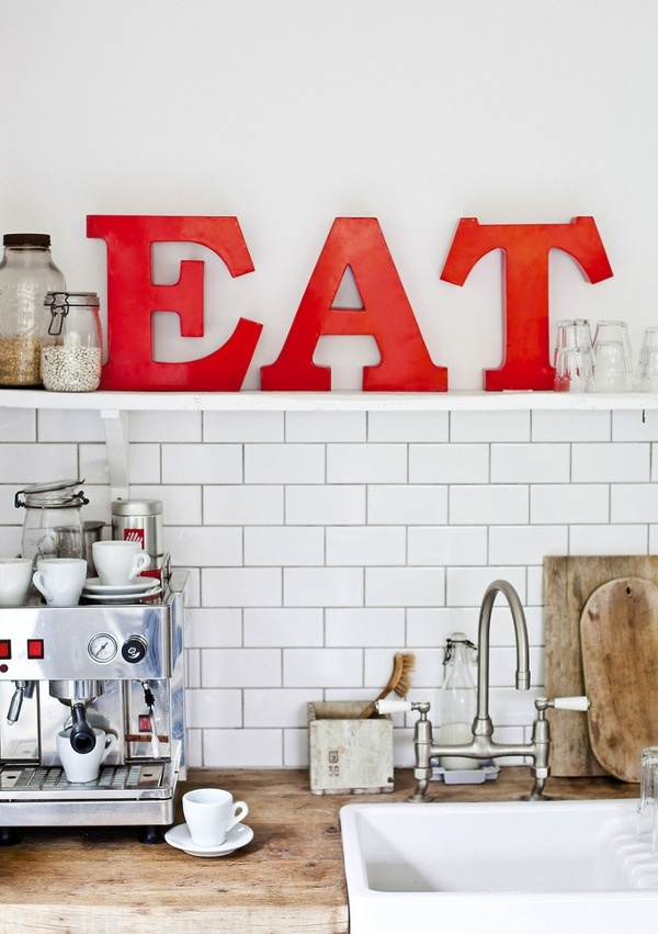 Decor, Ideas, Interiors Design, Eating Signs, Red Kitchens, Design Kitchen, White Subway Tile, Subway Tiles, Letters
