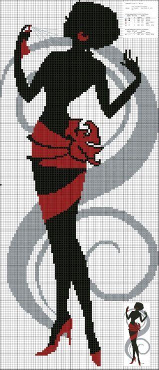 point de croix  silhouette de femme noir et rouge - cross-stitch red and black silhouette of a woman