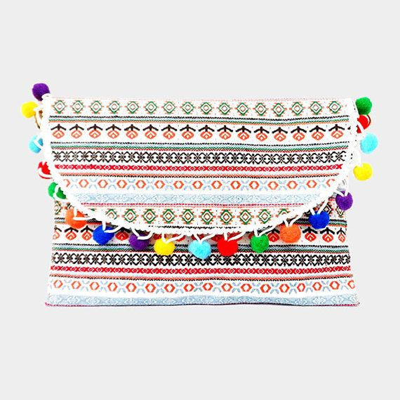 White Multi-color Semi Circle Pom Pom Wristlet Clutch Bag