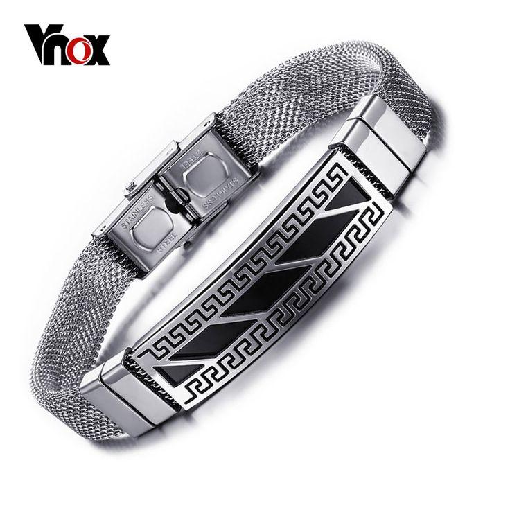 Men Bracelet Punk Bracelets Stainless Steel Greek Key Pattern Bracelet for Men Jewelry