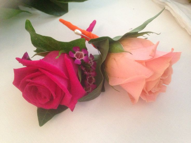 Hot Pink and Coral Rose Buttonholes for that summer wedding, to brighten up the Groom and Best men's suits.
