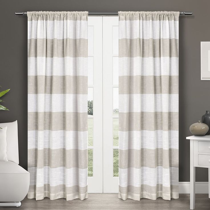 ATI Home Darma Semi Sheer Rod Pocket Window Curtain 84 - 108-inch Length Panel Pair (Darma 108 Inches), White (Linen, Stripe)