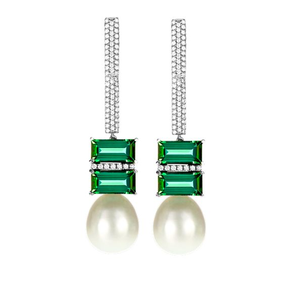 e53c7b09e70d9 NADINE_AYSOY pearl earrings with [emeralds?] | Motivation in 2019 ...