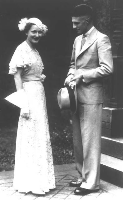 1930s couple at their wedding.