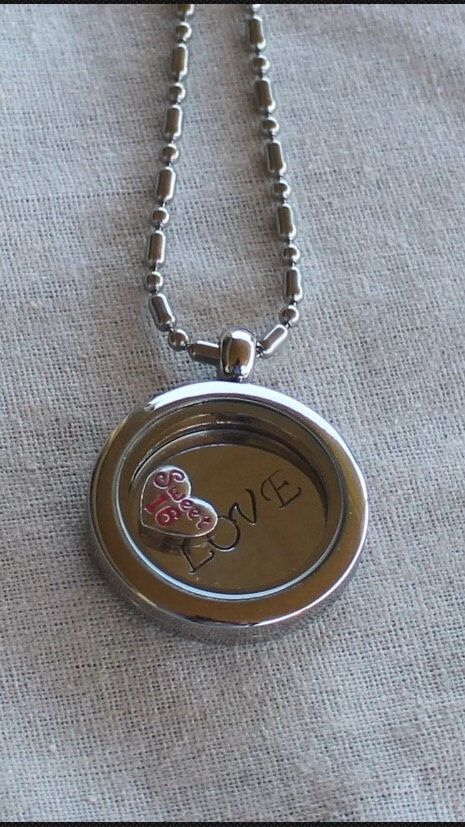 Floating hand stamped personalised necklace sweet 16 by Giftitright on Etsy