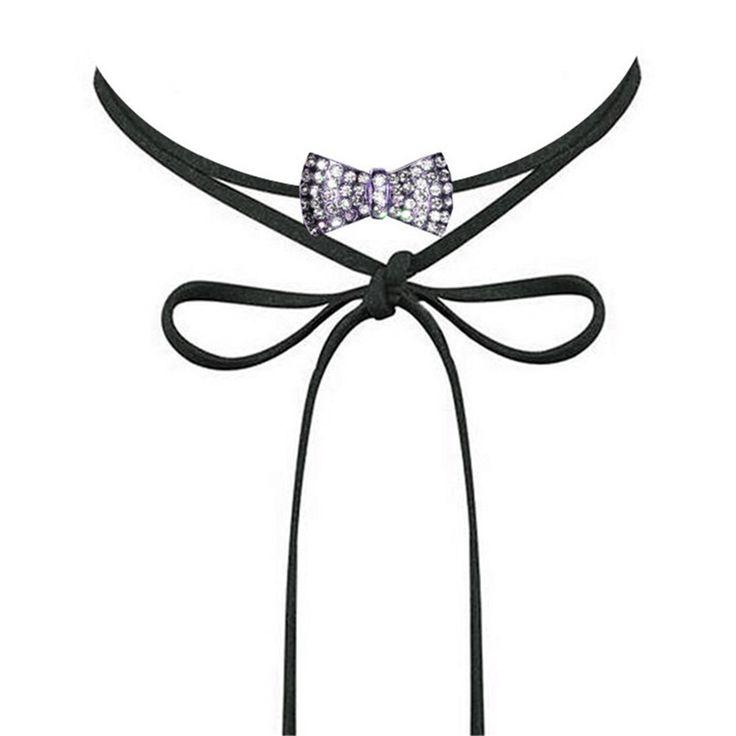 Kwan Women's Choker Necklace Austrian Rhinestone Crystal Cross Pendant Tied Bowknot Collar Jewelry Girls