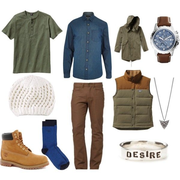 Draft 1: Collins (Intro Act 1) by commonstylebook on Polyvore featuring polyvore fashion style Timberland FOSSIL Rachel Entwistle River Island Patagonia Dickies