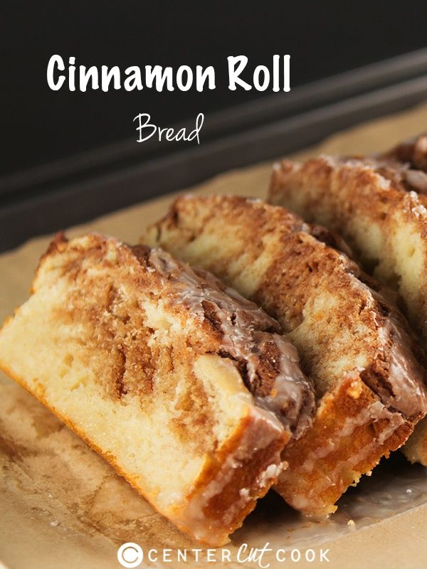 cinnamon roll bread - best  part is the cinnamon streusel topping/filling that's sort of like what you might expect on a coffee cake, or muffins - it's crumbly, cinnamon-y, and delicious