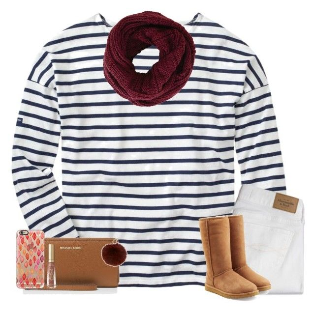 stripes by ashtongg117 on Polyvore featuring polyvore fashion style J.Crew Abercrombie & Fitch UGG MICHAEL Michael Kors BCBGMAXAZRIA Casetify Yves Salomon Too Faced Cosmetics clothing