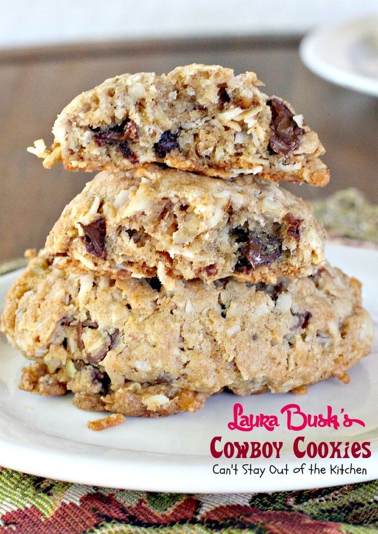 Laura Bush's Cowboy Cookies are cowboy-sized oatmeal cookies with ...