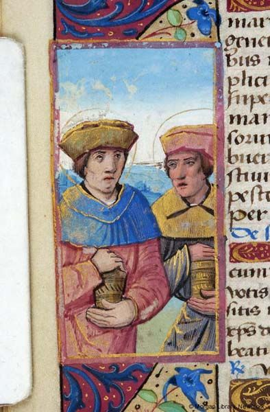 Cosmas and Damian, both nimbed and wearing hats, stand and hold medicine bottles   Book of Hours   France, perhaps Tours   ca. 1500   The Morgan Library & Museum