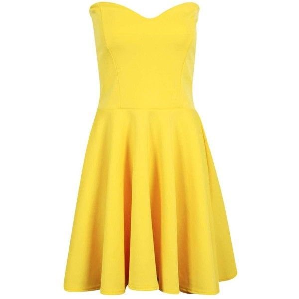 Petite Polly Bandeau Skater Dress ($3.03) ❤ liked on Polyvore featuring dresses, petite dresses, yellow dress, skater dress, bandeau skater dress and bandeau dress