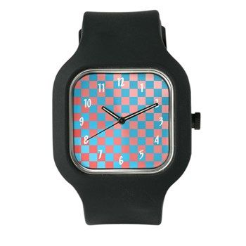 Pink & Blue Squares Watch from cafepress store: AG Painted Brush T-Shirts. #watch #pattern #patterned