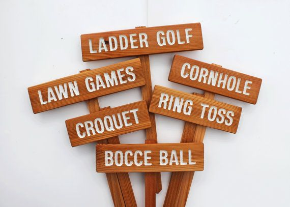 YARD GAME Signs, Party Signs, Wedding Game Signs, Family Reunion, BBQ, Bocce Ball, Croquet, Cornhole, Horseshoes on Etsy, $9.00