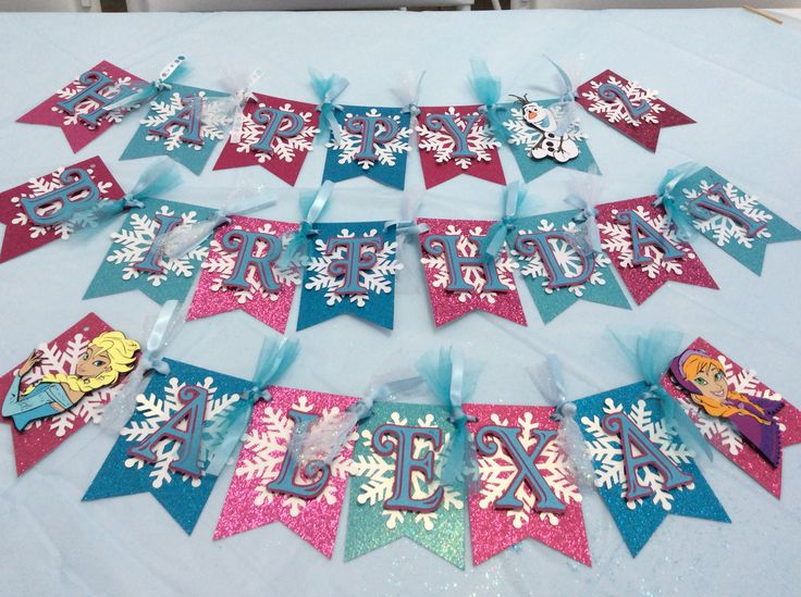 "Frozen theme party banner I made for my niece bday using the new ""Frozen"" Cricut cartridge and ""Pretty Pennants"" cartridge. #frozen #party #decoration #namebanner #glitterpaper"
