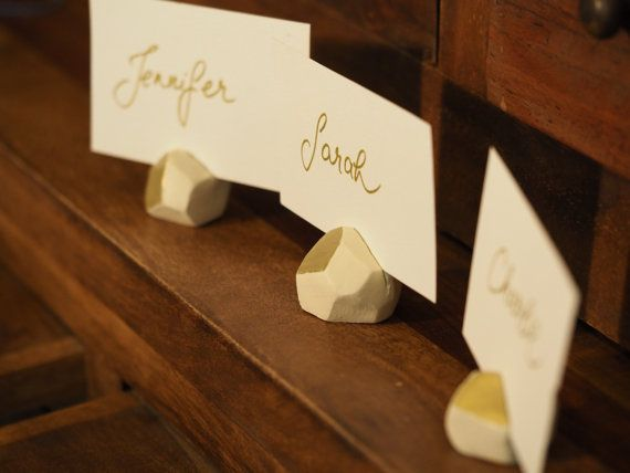 Geometric place card holders - Set of 3 ivory and gold wedding / party decorations which can be used as practical wedding favors. It is possible to