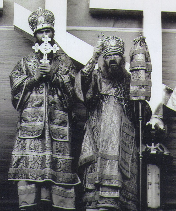 """Metropolitan Philaret & St John of Shanghai blessing the huge crosses to be lifted on top of the domes of the """"new"""" Joy of All Who Sorrow Cathedral in San Francisco ... mid - 1960's ..."""