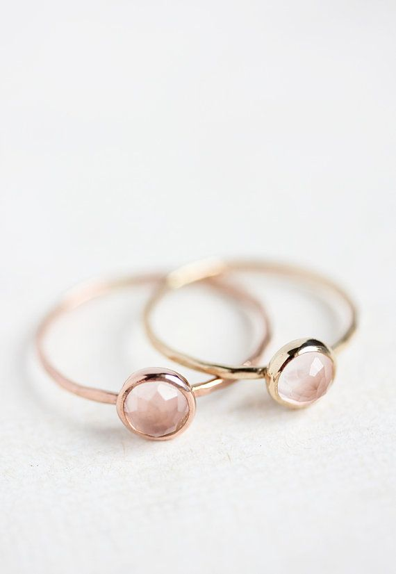 Rose quartz and rose gold ring, rose cut, thin stacking ring, pastel pink, delicate gold ring, solid 14k gold ring, thin gold band