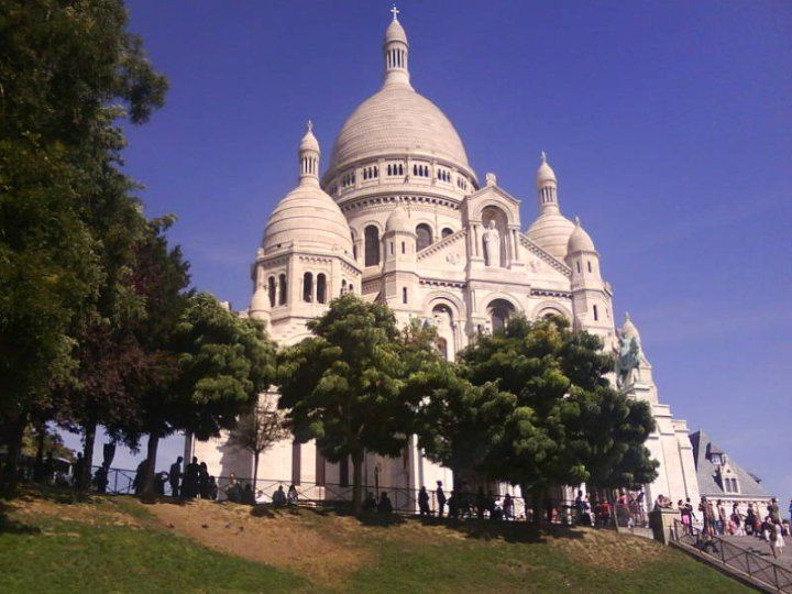Sacre Coeur Basilica. The view is from the top of the Butte Montmartre